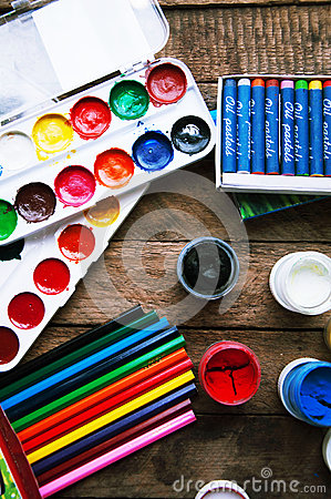 Free Art Of Painting. Paint Buckets On Wood Background. Different Paint Colors Painting On Wooden Background. Painting Set: Brushes, Pa Stock Images - 63598194