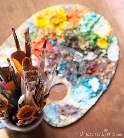 Art Paint Brushes and Palette