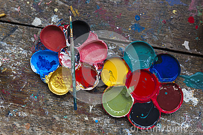 Art palette and brush paiting