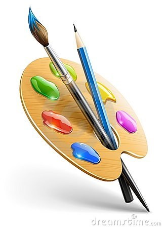 Art palette with paint brush and pencil