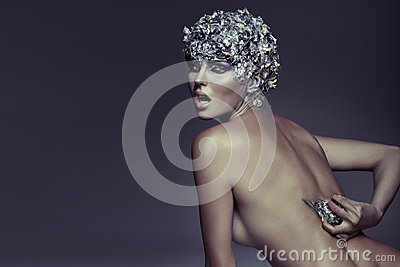 Art photography of silver-haired woman