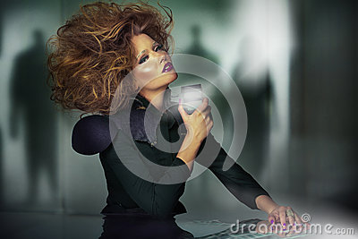 Art picture of beautiful woman with unsual haircut