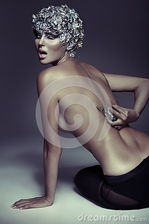 Art picture of dangerous naked woman