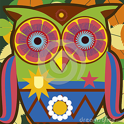 Art portrait of a comic owl general