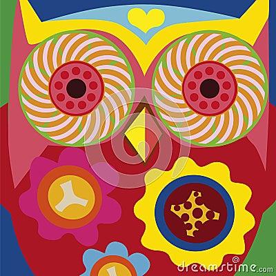 Art portrait of a comic owl general