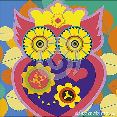 Art portrait of a comic owl queen