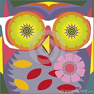 Art portrait of a comic owl teacher