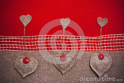 Art retro background with fabric Hearts for or design