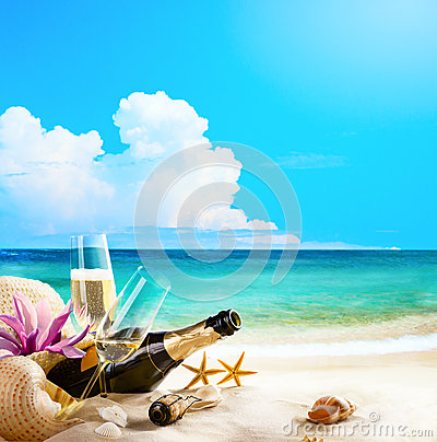 Free Art Romantic Sea Beach. Wine Glasses And Champagne Bottle On San Stock Images - 31391654