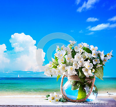 Art seascape and jasmine flowers