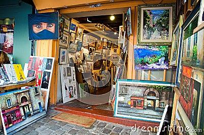 Art shop in Montmartre, Paris