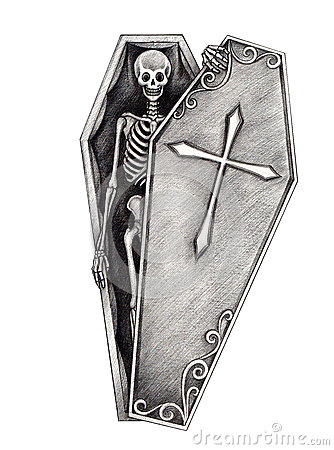 Art Skull In The Coffin. Stock Illustration - Image: 58318530