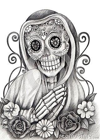 art skull day of the dead festival stock illustration