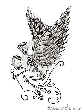 Art Skull Fairy Angel Tattoo Stock Illustration Image