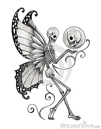 Art Skull Fairy Tattoo Stock Illustration Image 58318243