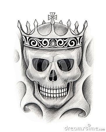 art skull king tattoo stock illustration image 64503157. Black Bedroom Furniture Sets. Home Design Ideas