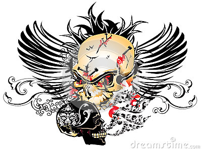 Art skull pattern tattoo