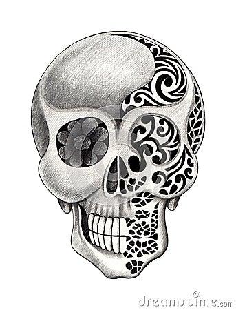 art skull tattoo stock illustration image 60903729