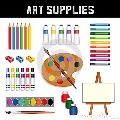 Free Art Supplies: Paints, Easel, Watercolors, Brushes, Palette Stock Image - 115335751