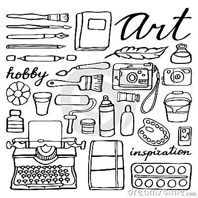 Art Supplies For Drawing. Cartoon Vector Set Stock Vector - Image ...