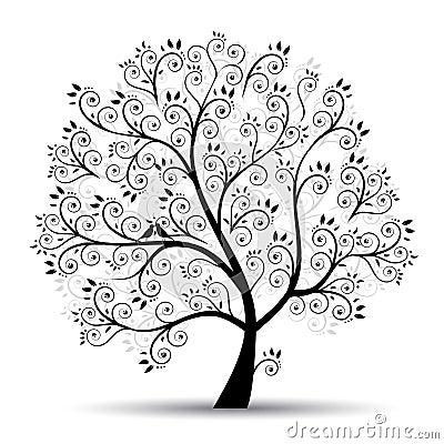 Free Art Tree Beautiful, Black Silhouette Stock Photo - 14429430