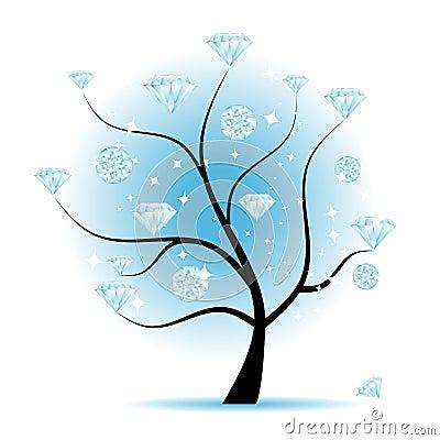 Art tree with diamonds