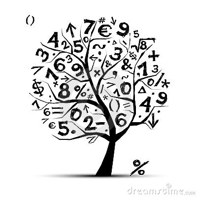 Art tree with math symbols for your design