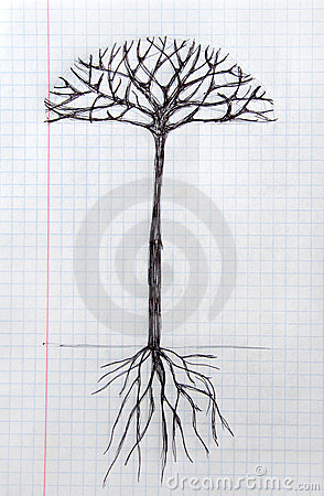 Art tree sketch on notebook sheet