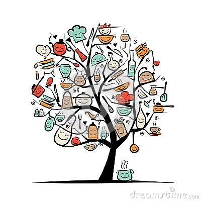 Free Art Tree With Kitchen Utensils, Sketch Drawing For Royalty Free Stock Images - 34343599