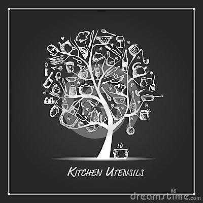 Free Art Tree With Kitchen Utensils, Sketch Drawing For Your Design Stock Images - 77999674