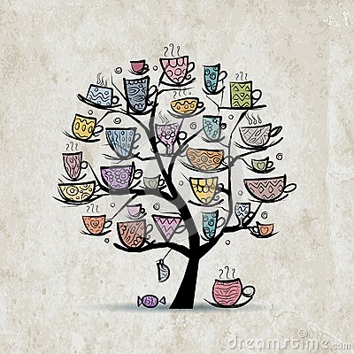 Free Art Tree With Mugs And Cups. Sketch For Your Stock Images - 47760054