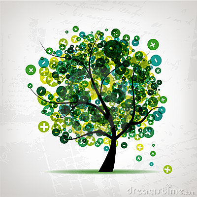 Free Art Tree With Signs Of Plus And Minus Royalty Free Stock Photography - 18892557