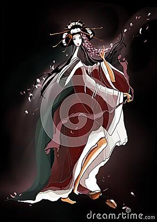 Art with Young Dancing Geisha, illustration on a b