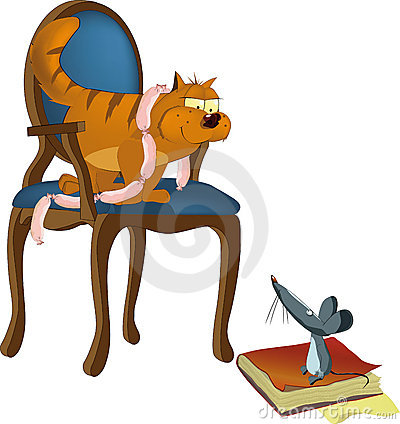 Free Artful Cat Teasing The Hungry Mouse Stock Photo - 13356440