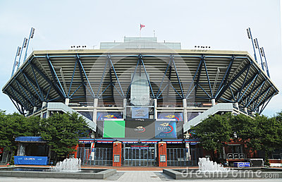 Arthur Ashe Stadium at the Billie Jean King National Tennis Center ready for US Open tournament Editorial Photography