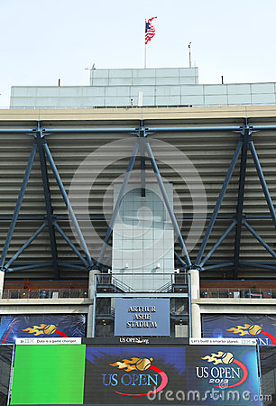 Arthur Ashe Stadium at the Billie Jean King National Tennis Center ready for US Open tournament Editorial Stock Photo