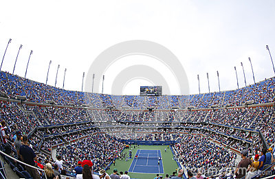Arthur Ashe Stadium at the Billie Jean King National Tennis Center during US Open 2013 tournament Editorial Photo