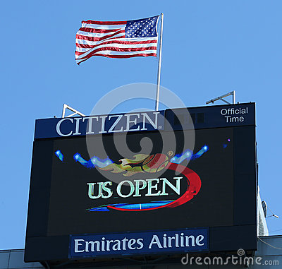 Arthur Ashe Stadium scoreboard at Billie Jean King National Tennis Center Editorial Stock Image