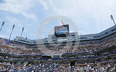 Arthur Ashe Stadium scoreboard at Billie Jean King National Tennis Center Editorial Stock Photo
