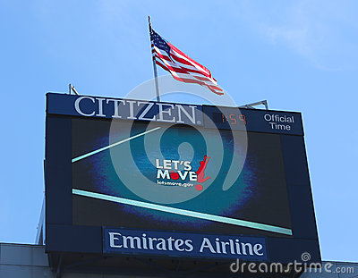 Arthur Ashe Stadium scoreboard promoting Let s move program developed by First Lady Michelle Obama Editorial Photography