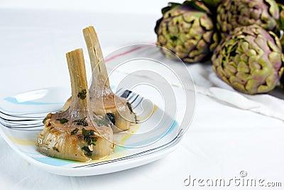 Artichokes cooked