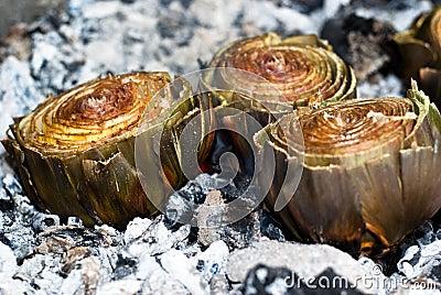 Artichokes on ember BBQ