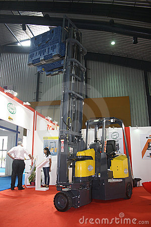 Articulated Fork Lift at India Warehousing Show Editorial Stock Photo