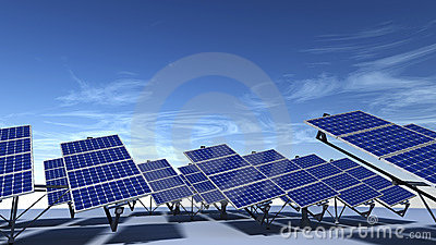 Articulated solar panels with blue sky in morning