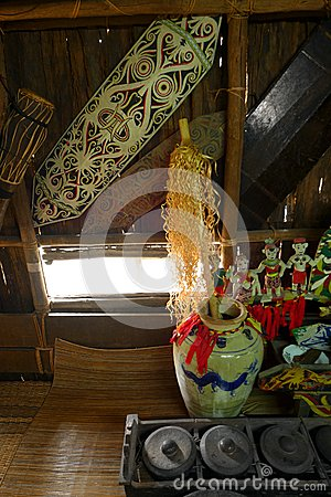 Artifacts in Iban headhunter warrior longhouse