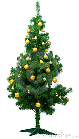 Artificial christmas pine tree isolated