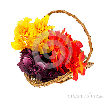 Free Artificial Flowers In Basket Stock Photo - 27819220