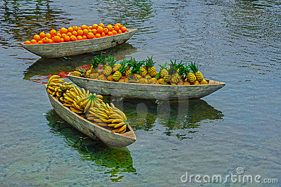 Artificial fruits on boats