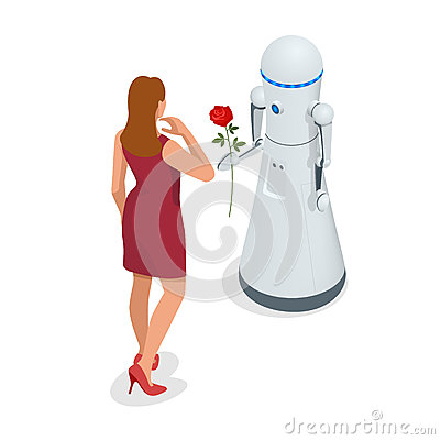 Free Artificial Intelligence. A Robot Gives A Woman A Rose Flower. 8 March Concept. Caring And Love. Stock Photography - 92920192
