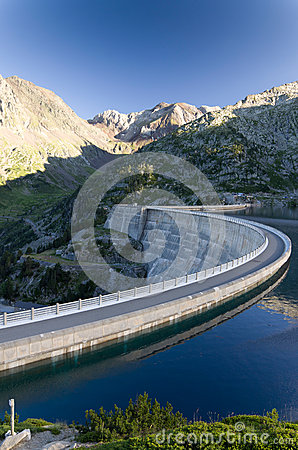 Artificial lake of the dam in the Pyrenees